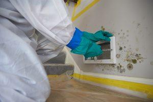mold remediaton technician working on duct